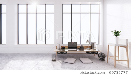 The interior Computer and office tools on mini desk in white concrete floor and white brick wall design. 3D rendering 69753777