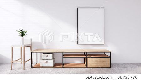 Tv cabinet in loft interior white brick wall room minimal designs, 3d rendering 69753780