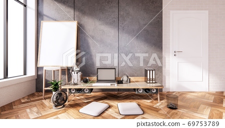 The interior Computer and office tools on mini desk in room concrete and white brick wall design. 3D rendering 69753789