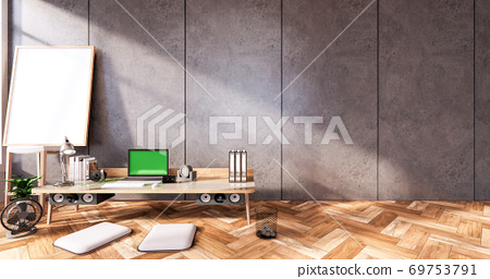 The interior Computer and office tools on mini desk in room concrete and white brick wall design. 3D rendering 69753791