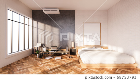 Bedroom interior loft style with Computer and office tool on desk. 3D rendering 69753793