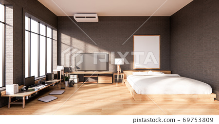 Bedroom interior loft style with frame on black wall brick. 3D rendering 69753809