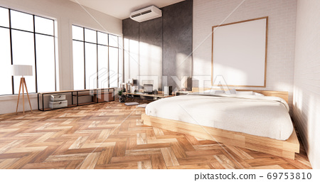 Bedroom interior loft style with Computer and office tool on desk. 3D rendering 69753810