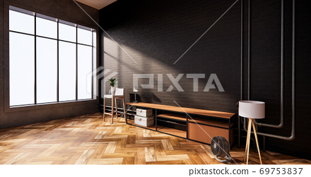 Tv cabinet in loft interior black brick wall room minimal designs, 3d rendering 69753837