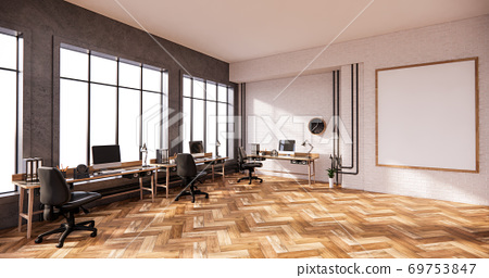 The interior loft style, Computer and office tools on desk in room concrete and white brick wall design. 3D rendering 69753847