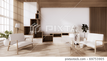 Cabinet wooden japanese style with low table wooden on room minimal interior.3D rendering 69753905