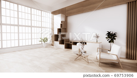 Cabinet wooden japanese style with low table wooden on room minimal interior.3D rendering 69753906
