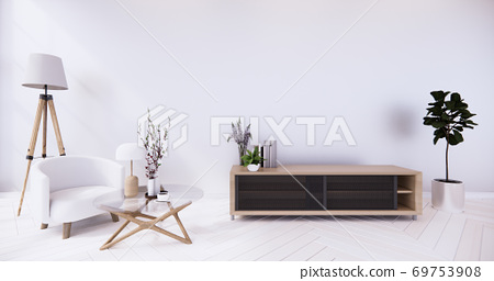 Cabinet and Armchair on room white wall, minimalist and zen interior.3d rendering 69753908
