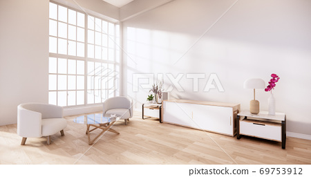 Cabinet and Armchair on room white wall, minimalist and zen interior.3d rendering 69753912
