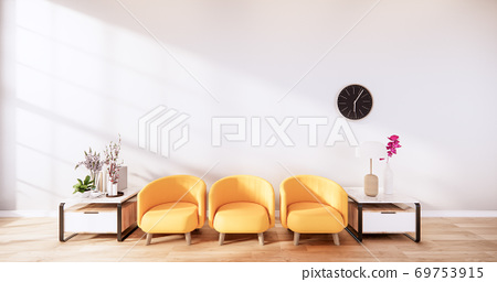 Yellow Leather Chair -  Room interior on white wall background. 3D rendering 69753915