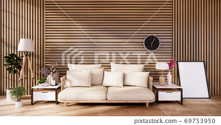 living room with white sofa on zen interior design wooden wall design. 3D rendering 69753950