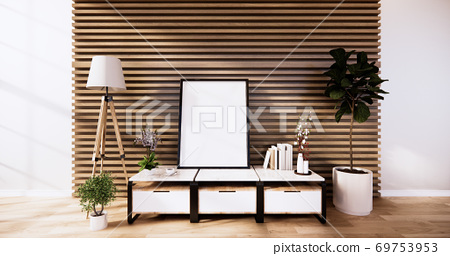 the cabinet, modern living room with wooden wall design and wooden white floor. 3d rendering 69753953