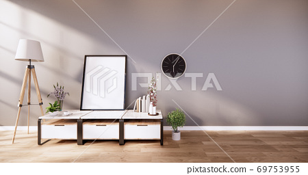 table cabinet in modern empty room and white wall on white floor room japanese style. 3d rendering 69753955