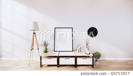 table cabinet in modern empty room and white wall on white floor room japanese style. 3d rendering 69753957