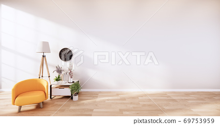 Yellow Leather Chair -  Room interior on white wall background. 3D rendering 69753959