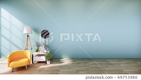 Yellow Leather Chair -  Mint Room interior on white wall background. 3D rendering 69753960