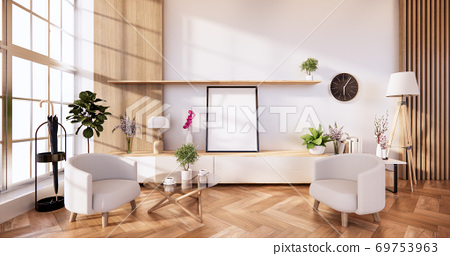 cabinet in modern room and white wall on woon floor japanese style. 3d rendering 69753963