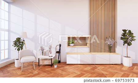 zen modern empty room,minimal design japanese style. 3d rendering 69753973
