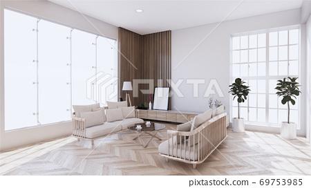 living room with white sofa on zen interior design. 3D rendering 69753985