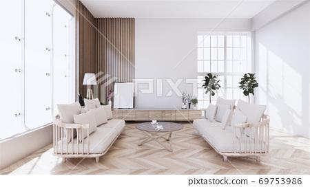 living room with white sofa on zen interior design. 3D rendering 69753986