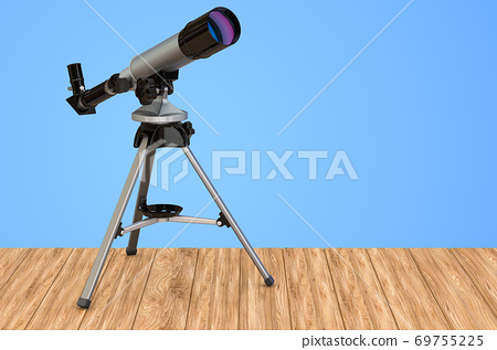 Telescope on the wooden table. 3D rendering 69755225