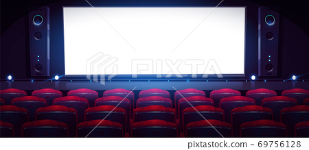 Movie theater, empty cinema hall with white screen 69756128
