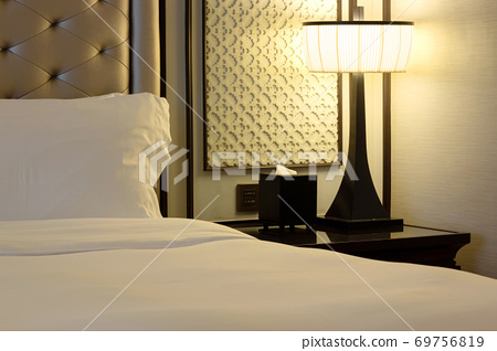 Luxury Modern Bedroom Interior with Pillow and Table Lamp 69756819