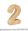 Rounded wooden font Number 2 TWO 3D 69758736