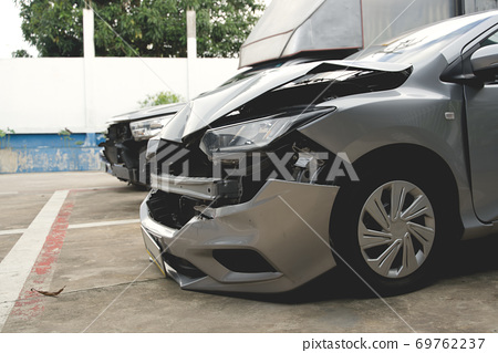 Front of car get damaged by accident and waiting for repair 69762237