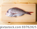 Tai, japanese seabream on wooden cutting board 69762825
