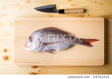 Tai, japanese seabream on wooden cutting board 69762826