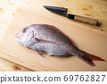 Tai, japanese seabream on wooden cutting board 69762827