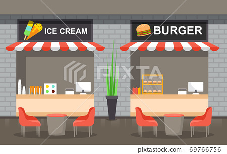 Food Court Indoor Interior Empty Restaurant Cafeteria Illustration 69766756