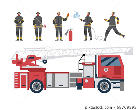 Red firetruck and firefighters, flat cartoon vector illustration isolated 69769595
