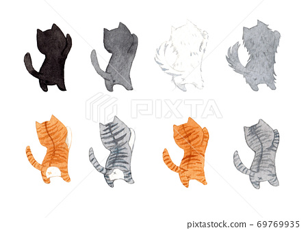 Set of cute cats in the same pose. Watercolor hand painting illustration on a white background. 69769935