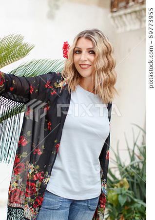 Bohemian fashion young women with flower 69773955