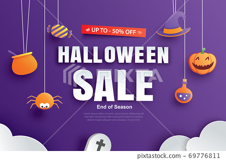 Halloween sale promotion template with paper art element design for flyer, banner, poster, discount, advertising. 69776811