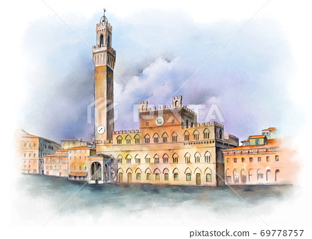 Piazza del Campo in Siena, Italy 69778757