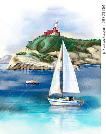Seascape with sail and lighthouse 69778764