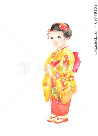 시 치고 산 기모노를 입은 소녀의 일러스트 69779101
