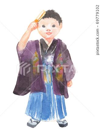 Illustration of a boy wearing a kimono at Shichigosan 69779102