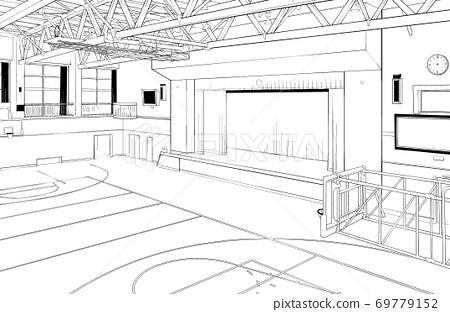 卡通筆繪圖插圖School_Gymnasium 69779152