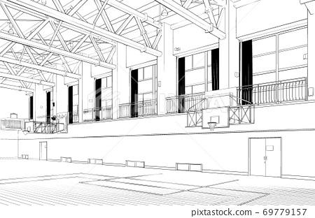 卡通筆繪圖插圖School_Gymnasium 69779157
