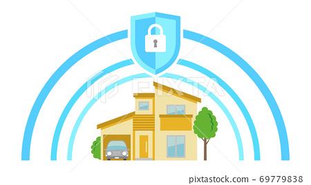 주택 안전으로 지켜지고있는 시니어의 일러스트 69779838