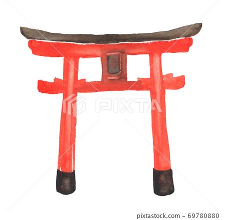 水彩畫的神社鳥居門的插圖 69780880