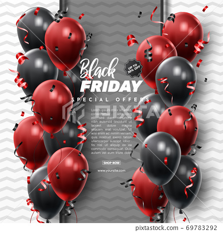 Black Friday Sale Poster with Shiny Balloons on Black and White Background. Universal vector background for poster, banners, flyers, card 69783292