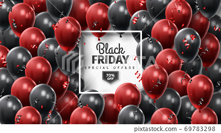 Black Friday Sale Poster with Shiny Balloons on Black and White Background. Universal vector background for poster, banners, flyers, card 69783298