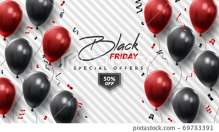 Black Friday Sale Poster with Shiny Balloons on Black and White Background. Universal vector background for poster, banners, flyers, card 69783391