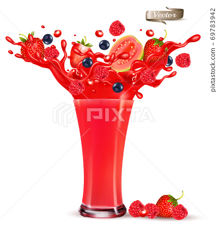 Red berry juice splash. Whole and sliced strawberry, raspberry, cherry blueberry and guava in a sweet juce or syrup with splashes and drops isolated on transparent background. 3D. Vector. 69783942