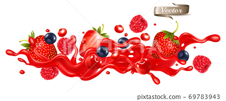 Red berry juice splash wave. Whole and sliced strawberry, raspberry, cherry, blueberry and blackberry in a sweet syrup wave with splashes and drops isolated on transparent background. 3D. Vector. 69783943